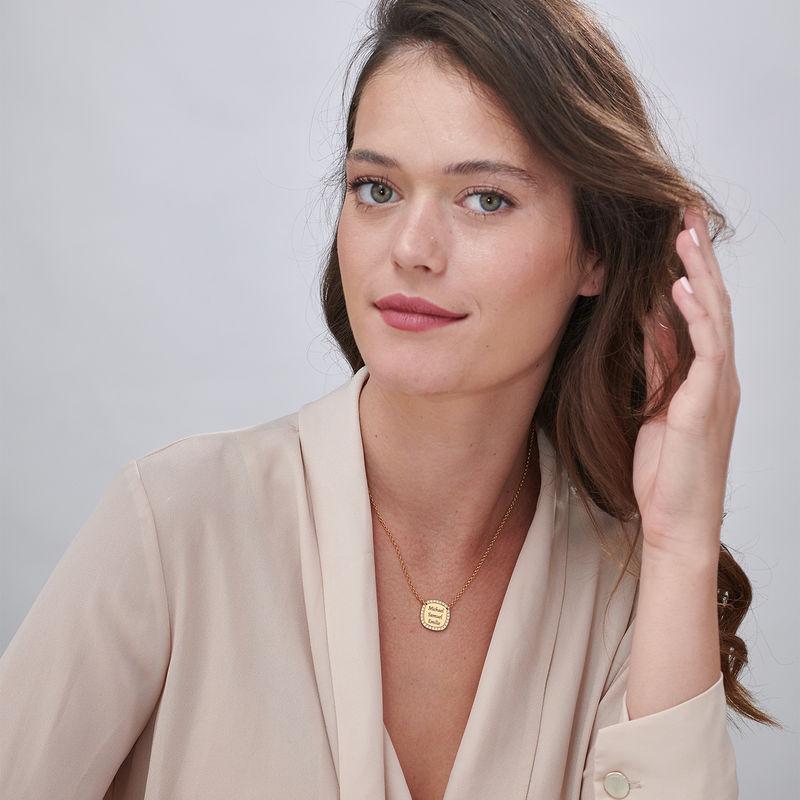 Collana con Zirconi Cubici Quadrati Placcata Oro Personalizzata - 1