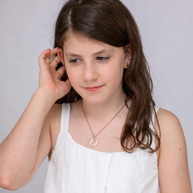 Collana con perla Unicorno Placcata Oro Rosa - 3