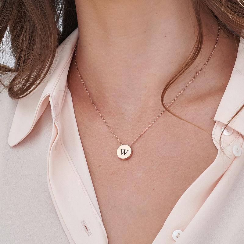 Collana con Cerchio Spesso e Iniziale Placcata Oro Rosa - 2