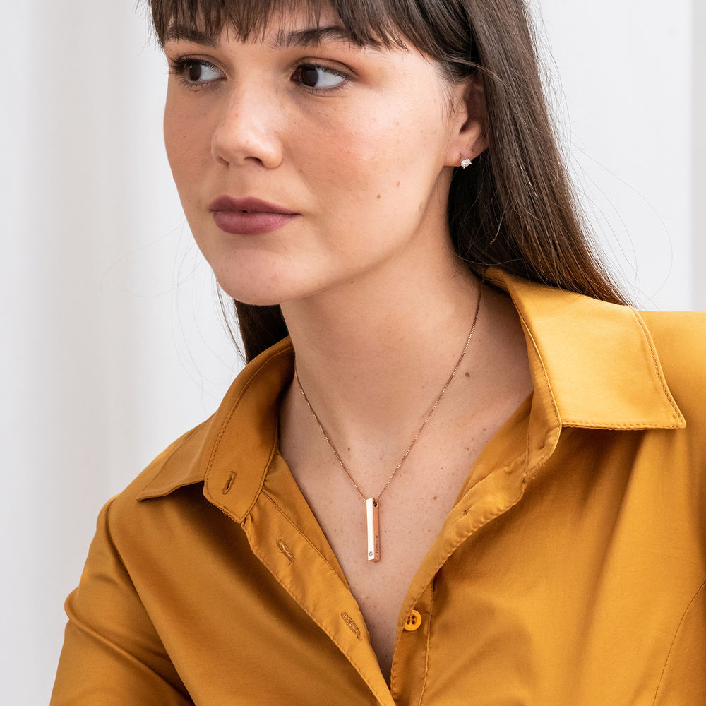 Collana con Targhetta 3D Verticale con Zircone Cubico Placcata Oro Rosa - 4