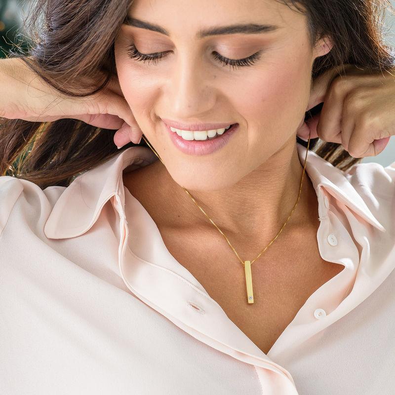 Collana con Targhetta 3D Verticale con Diamante Placcata Oro - 2
