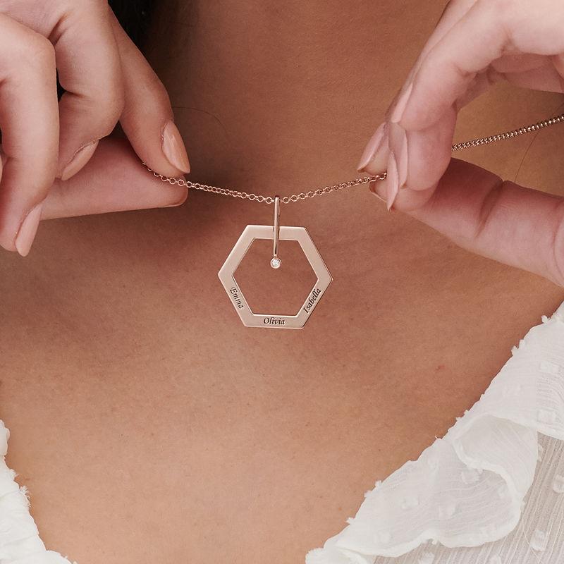 Collana con incisione personalizzata e ciondolo esagonale Placcata Oro Rosa - 3