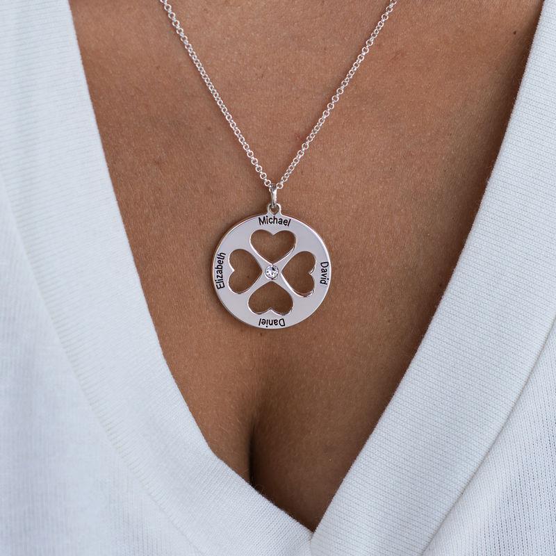 Collana Quadrifoglio con Cuore in Cerchio in Argento - 4