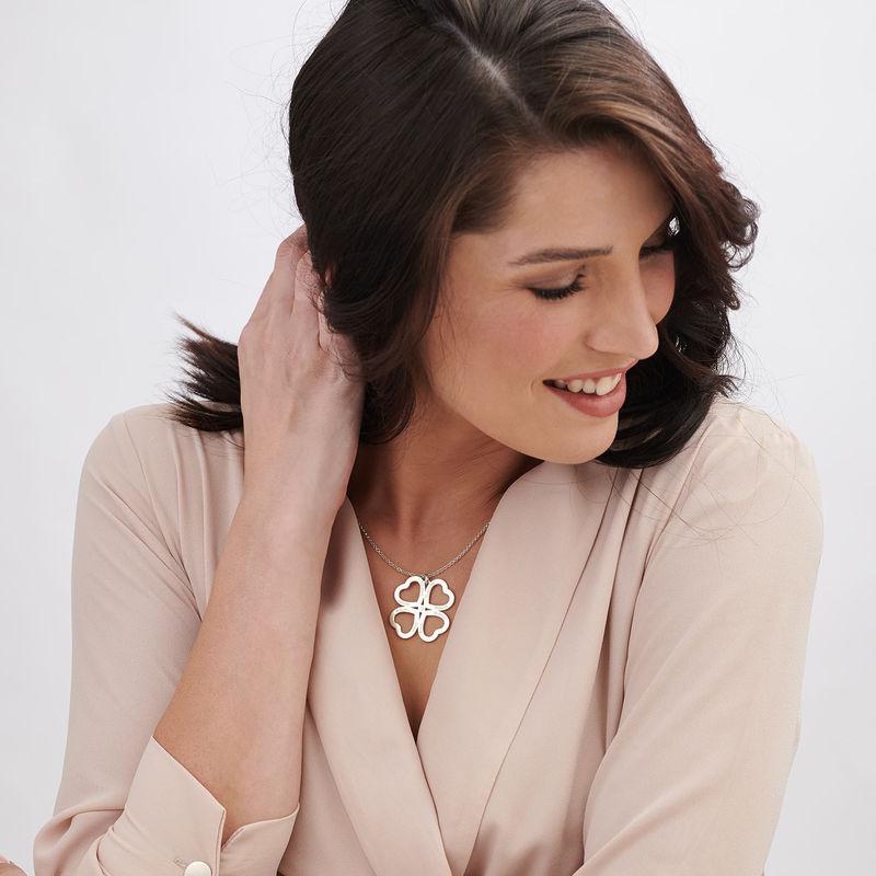 perla Quadrifoglio con Cuore in Argento - 2