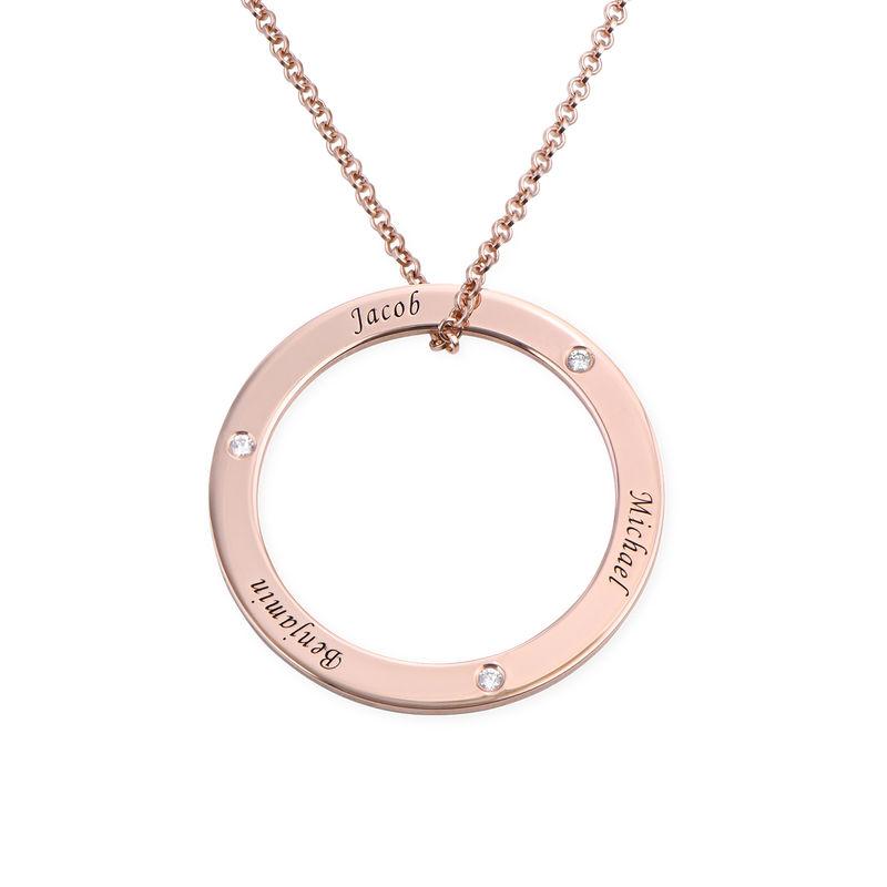 Collana Famiglia con Cerchio Personalizzato e Diamanti Placcata Oro Rosa foto del prodotto