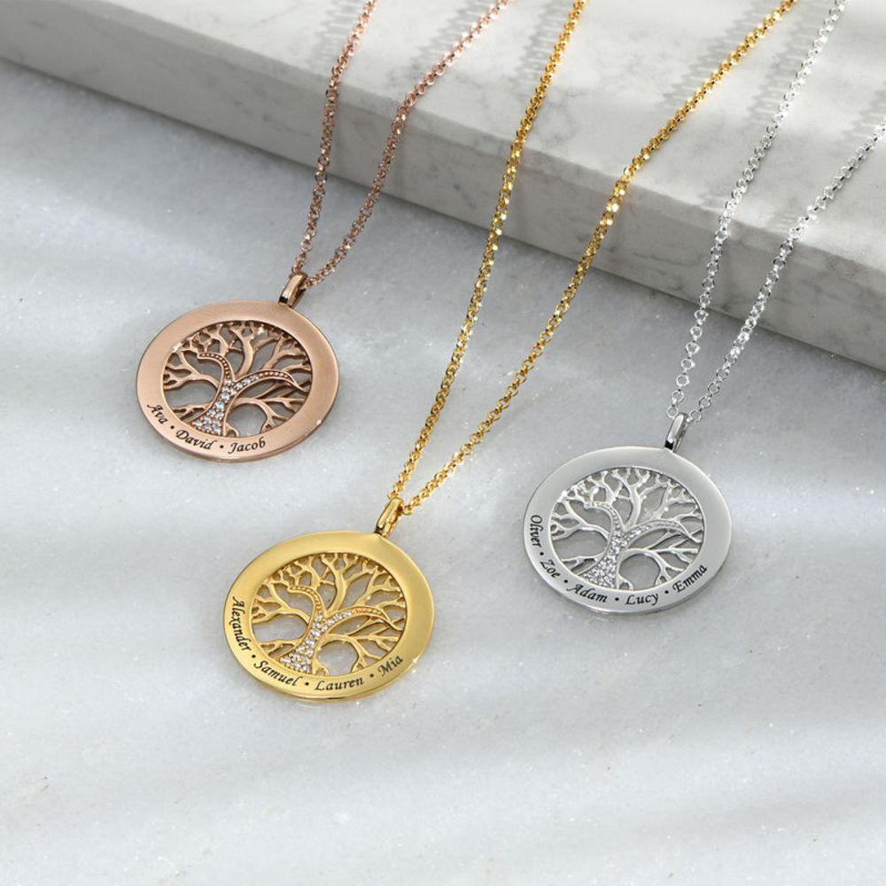 Collana Albero della Vita con Zircone Cubico Oro Vermeil 18k - 1