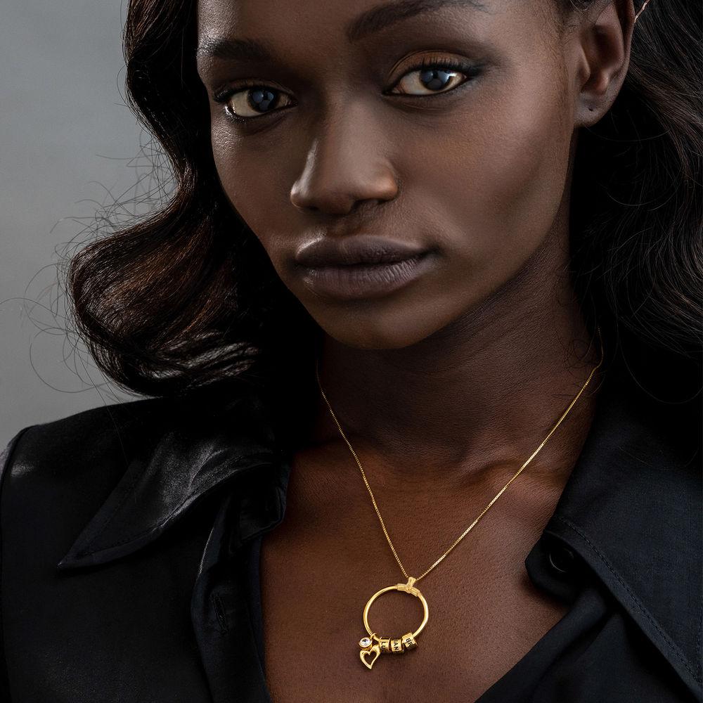 Collana Linda™ con Pendente a Cerchio con Foglia e Perle Personalizzate in Placcato Oro 18K - 4