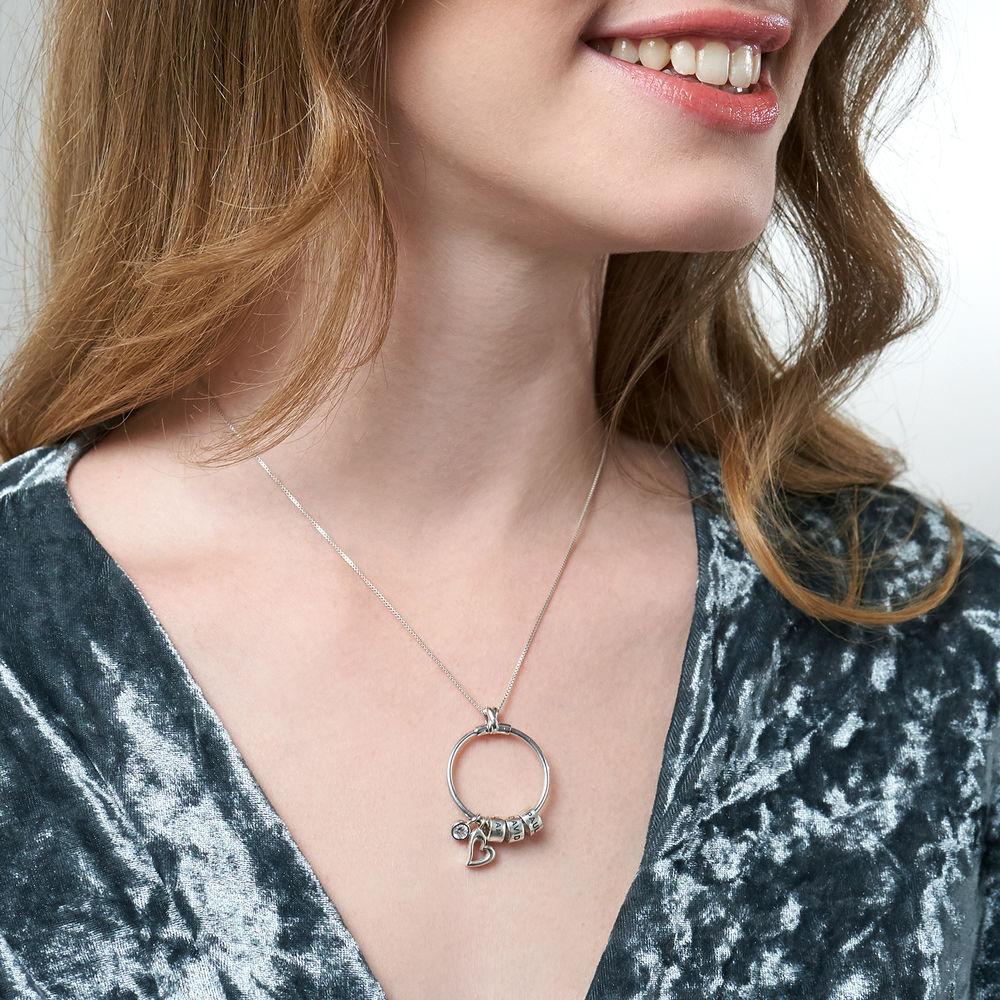 Collana Linda™ con Pendente a Cerchio con Foglia, Perle Personalizzate e Diamante in Argento Sterling - 4