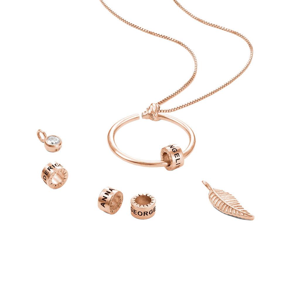 Collana Linda™ con Pendente a Cerchio con Foglia, Perle Personalizzate e Diamante in Placcato Oro Rosa 18K - 2
