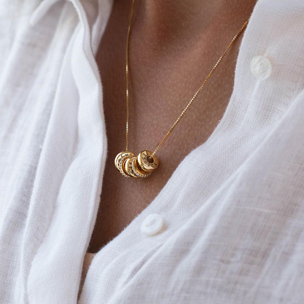 Collana con perline incise personalizzate in Argento 925 placcato oro 18k - 3