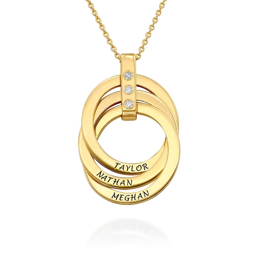Collana con Anello alla Russa con Diamante in Argento 925 placcato oro 18k