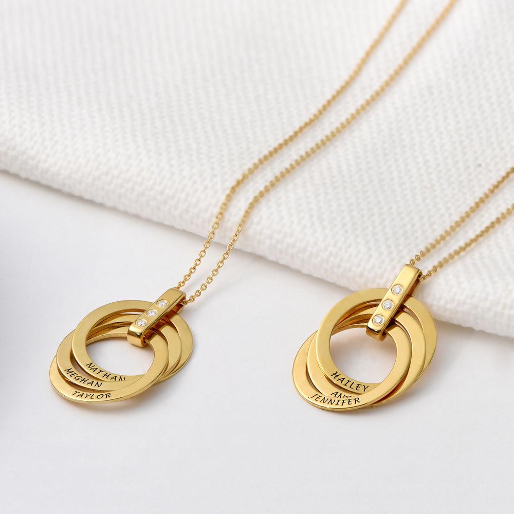 Collana con Anello alla Russa con Diamante in Argento 925 placcato oro 18k - 2
