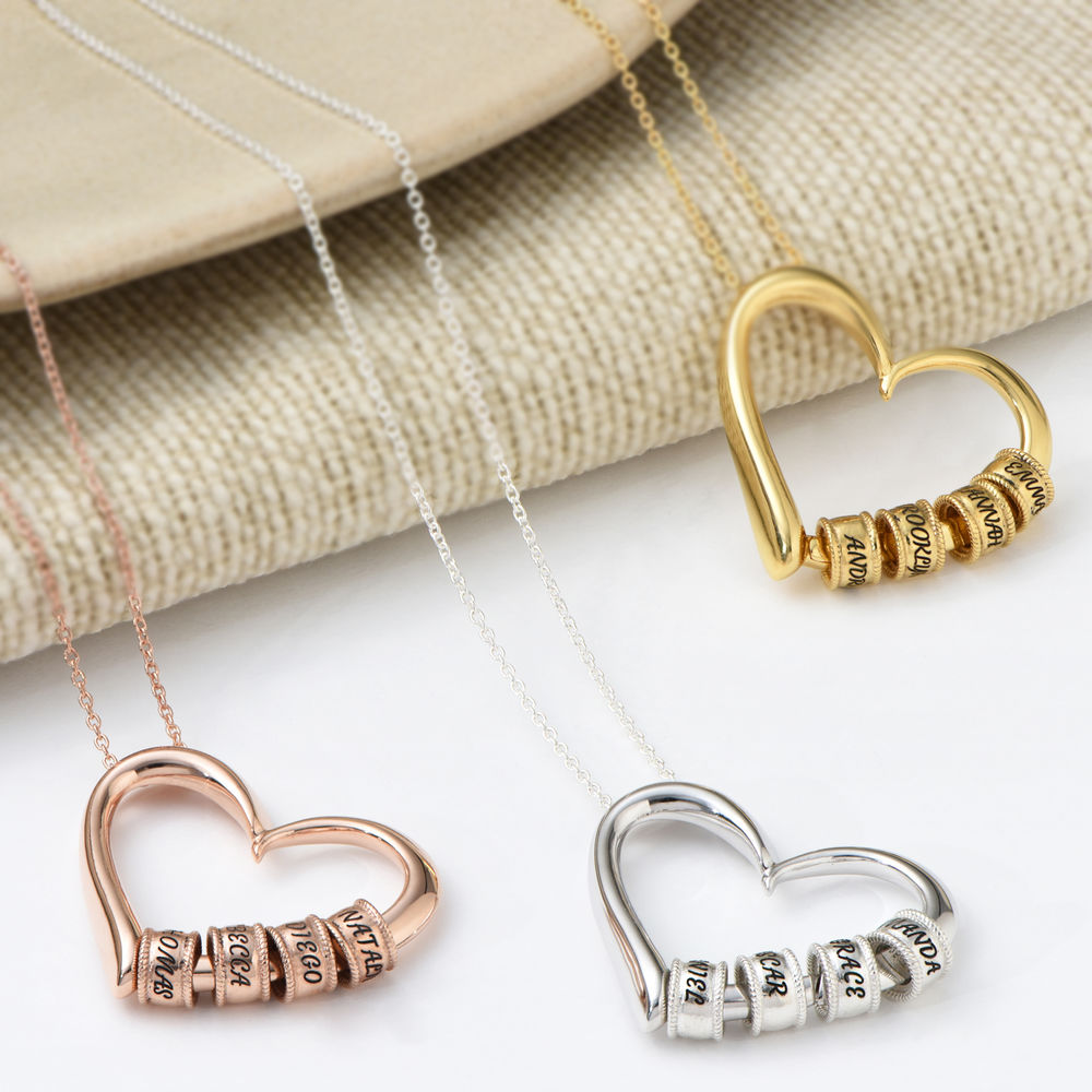 Collana Sweetheart con Perline Incise in Argento Sterling - 4