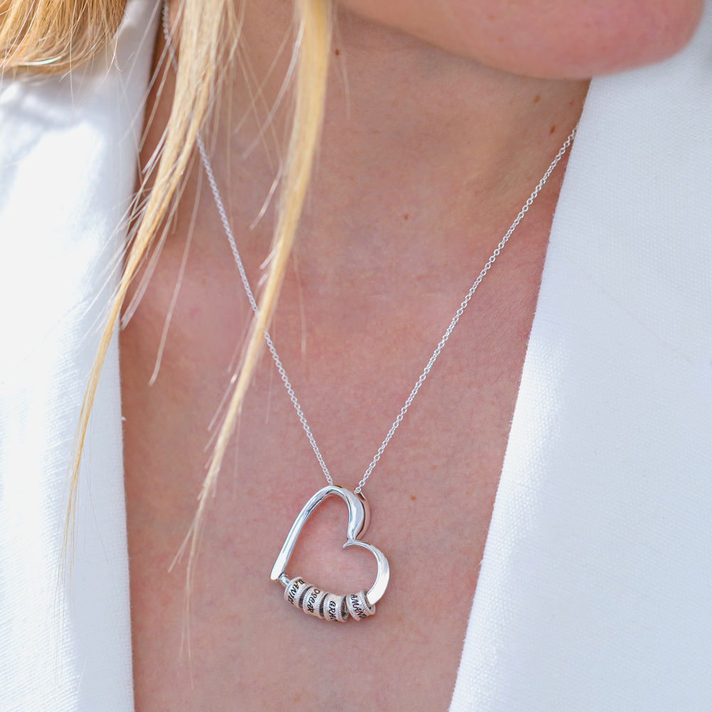 Collana Sweetheart con Perline Incise in Argento Sterling - 6