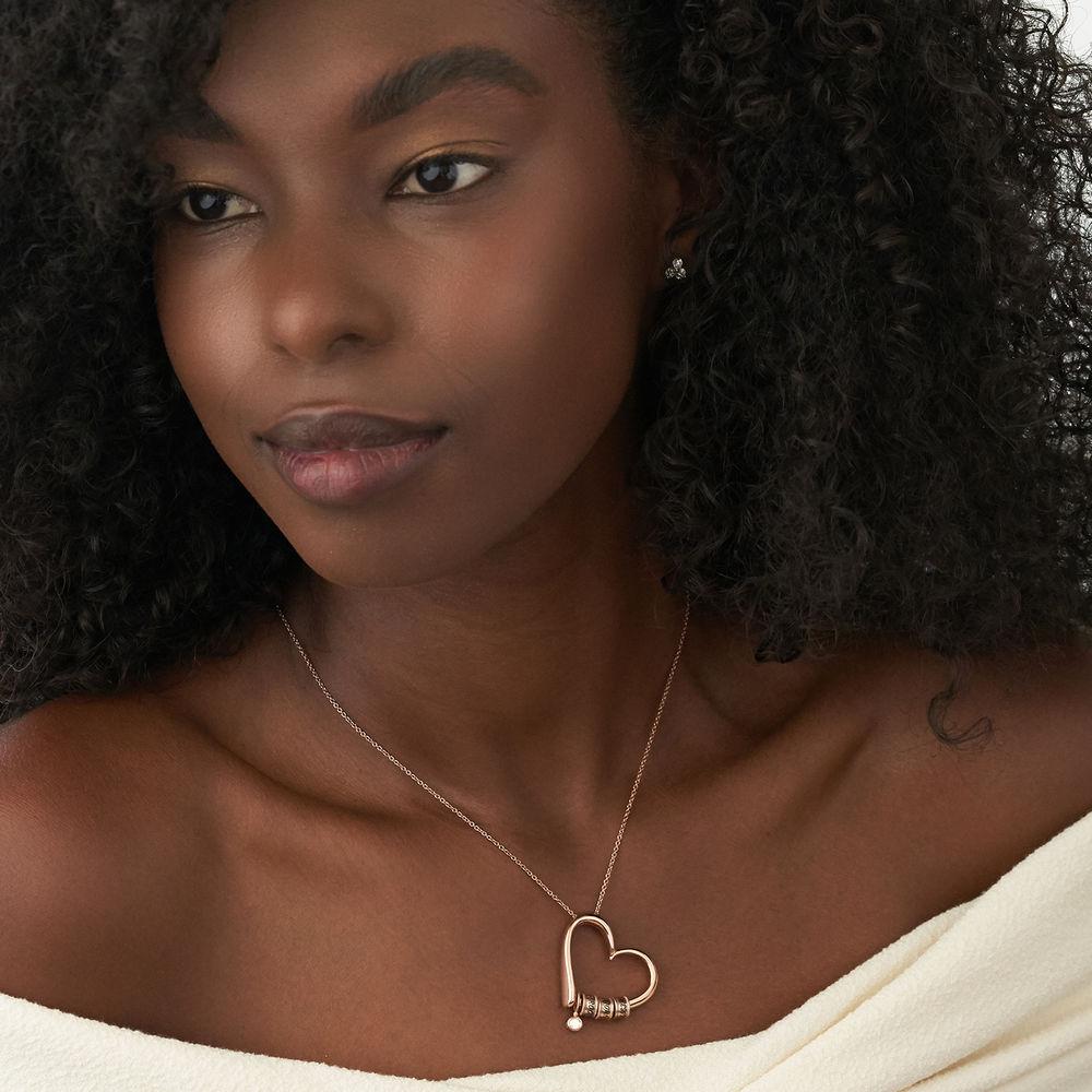 Collana Charming Heart in Argento 925 e Oro Rosa Placcato 18K con diamanti con Perle Personalizzate - 3