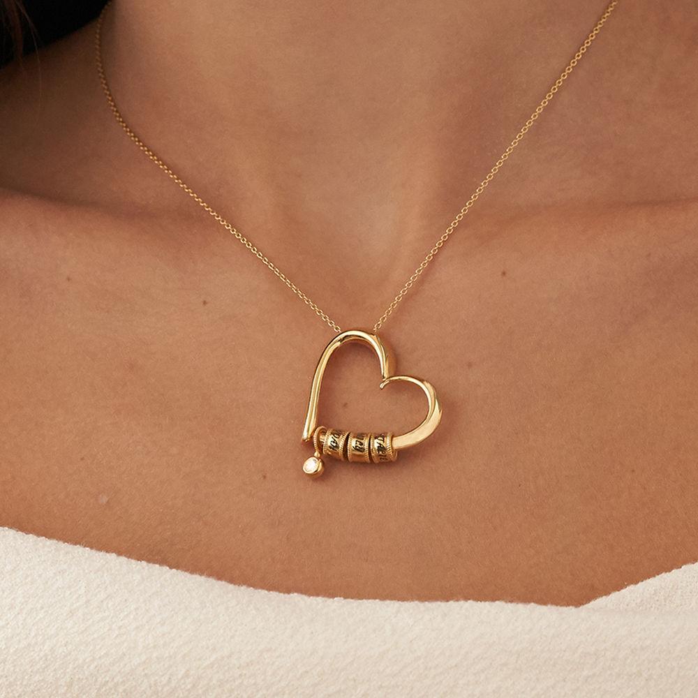 Collana Charming Heart in Argento 925 e Oro Vermeil 18k con diamanti con Perle Personalizzate - 5