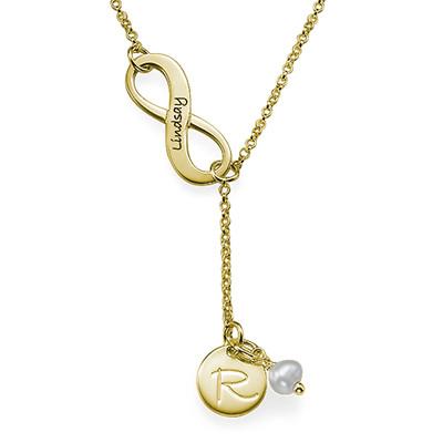 Collana Infinito In Oro Placcato a Forma Di Y con Pietre Portafortuna foto del prodotto