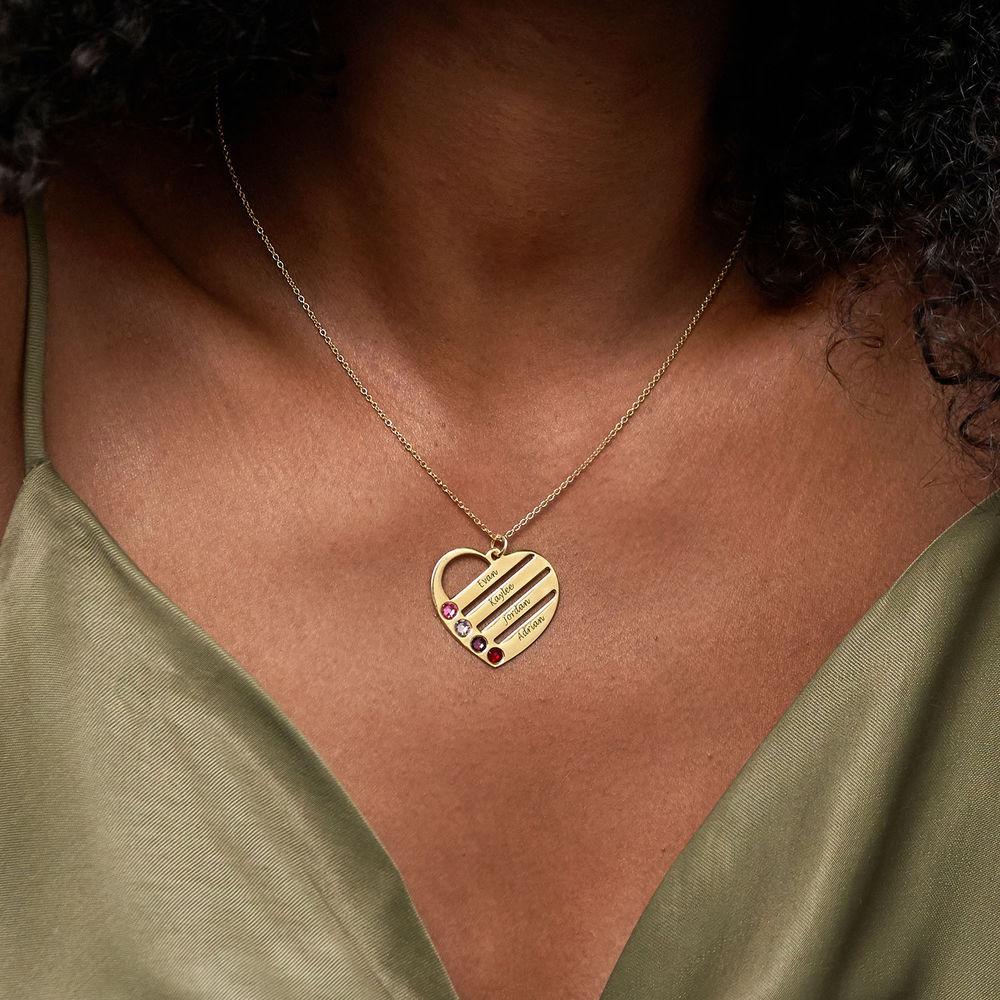 Collana Cuore Incisa con Pietre Portafortuna – Placcata in Oro - 3