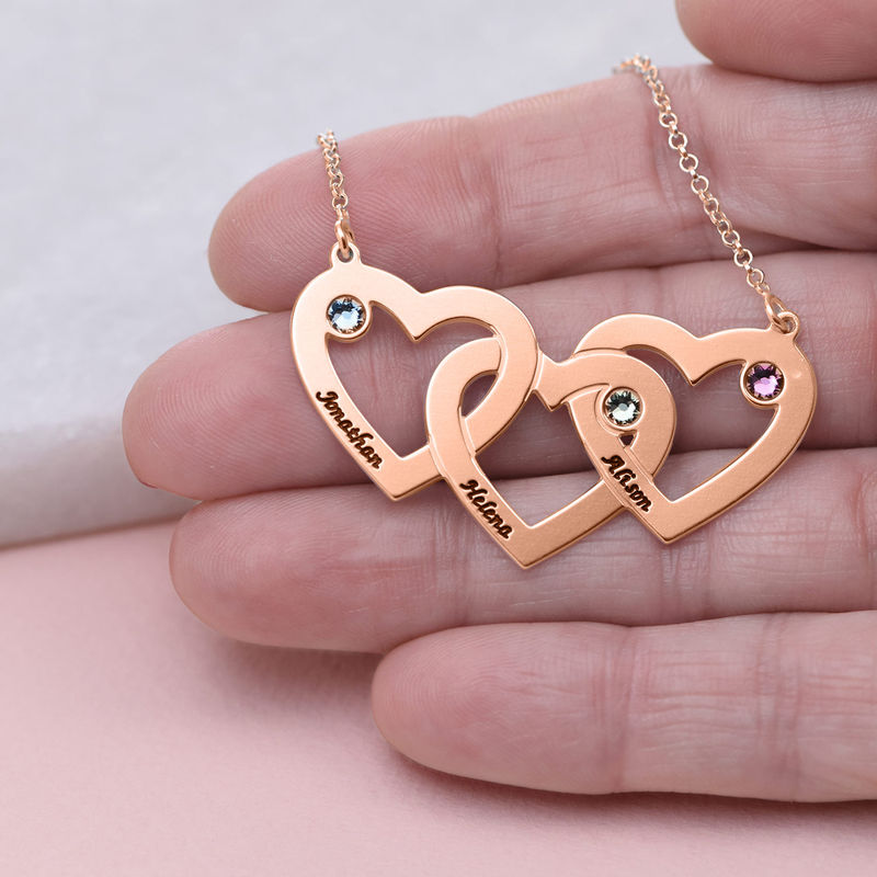 Collana a cuori incrociati con pietre placcata in oro rosa - 3