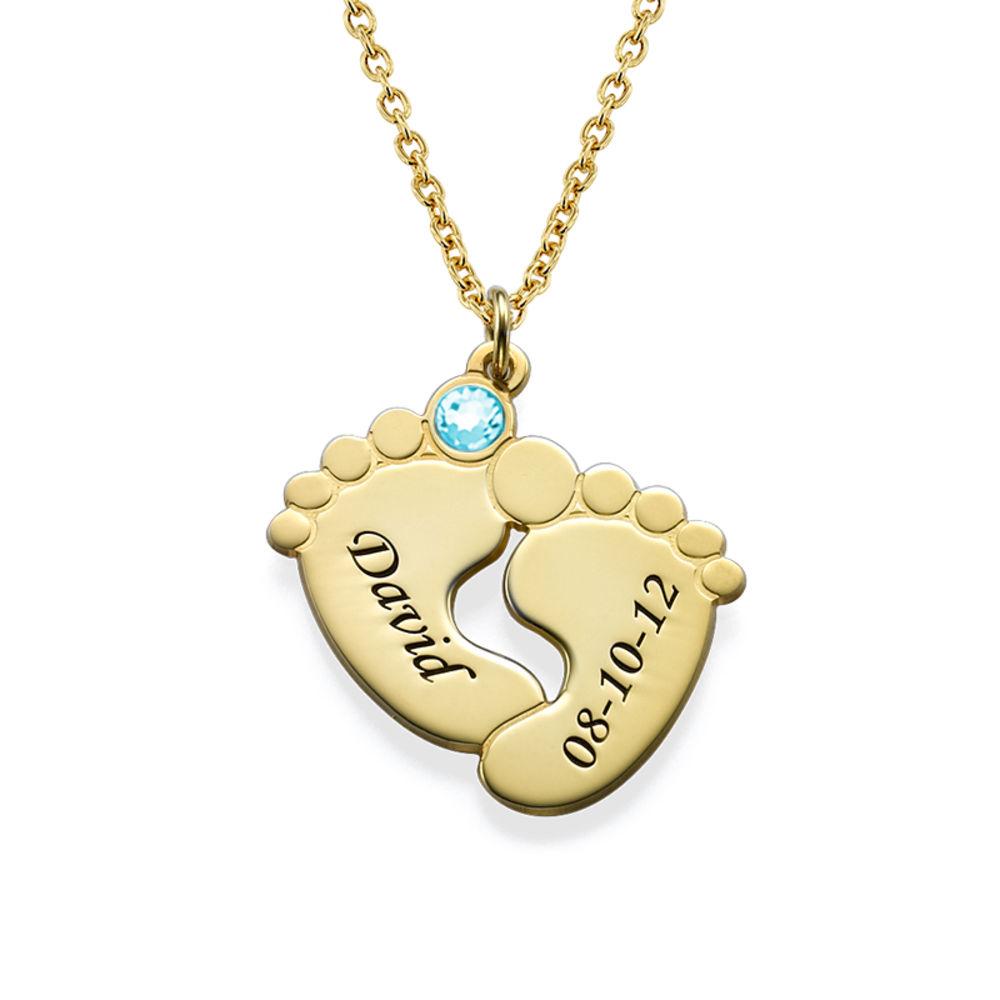 Collana Piedi di Bambino Personalizzata Placcata in Oro foto del prodotto
