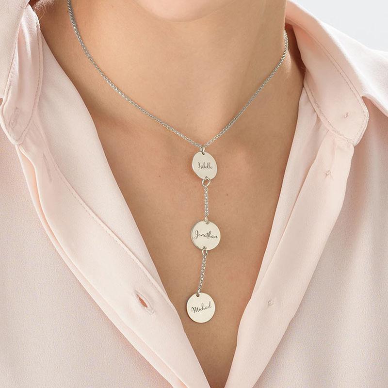 Collana Personalizzata a Forma di Y con Dischi in Argento - 3