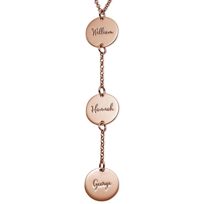 Collana Personalizzata a Forma di Y con Dischi Placcata Oro Rosa foto del prodotto