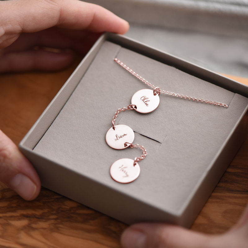 Collana Personalizzata a Forma di Y con Dischi Placcata Oro Rosa - 4