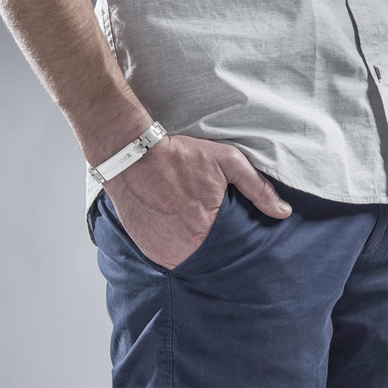 Bracciale da Uomo in Acciaio Inossidabile con incisioni - 1