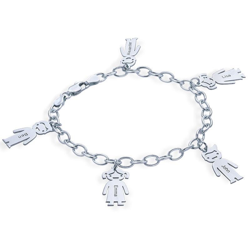 """Braccialetto con pendenti """"bimbi"""" personalizzato in argento 0,925 foto del prodotto"""