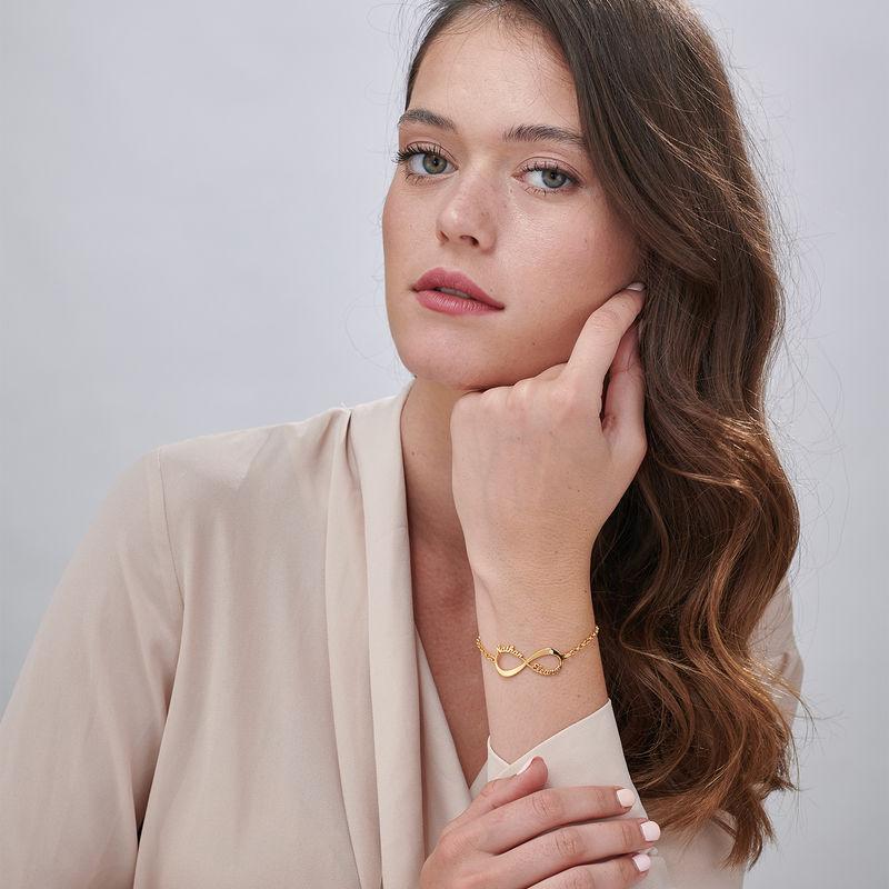 Bracciale Infinito Personalizzato Placcato Oro con Diamante - 1