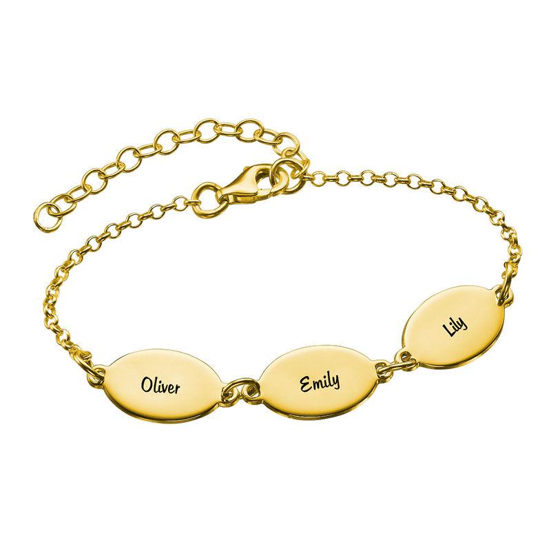 Braccialetto della mamma con nome dei bimbi, dal disegno ovale in vermeil d'oro - 1