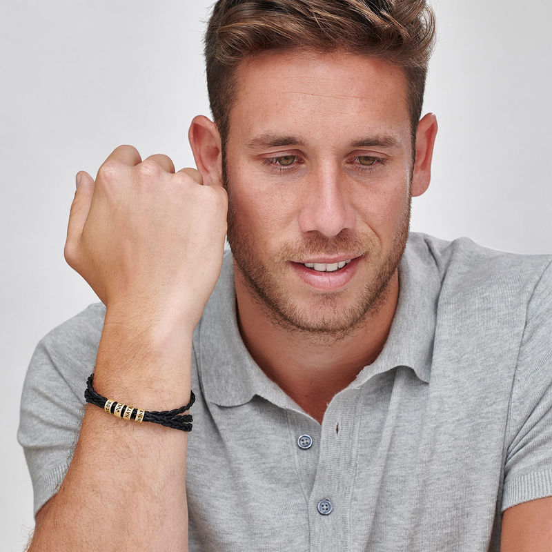 Bracciale da Uomo con Piccole Perle Personalizzate Placcato Oro - 1