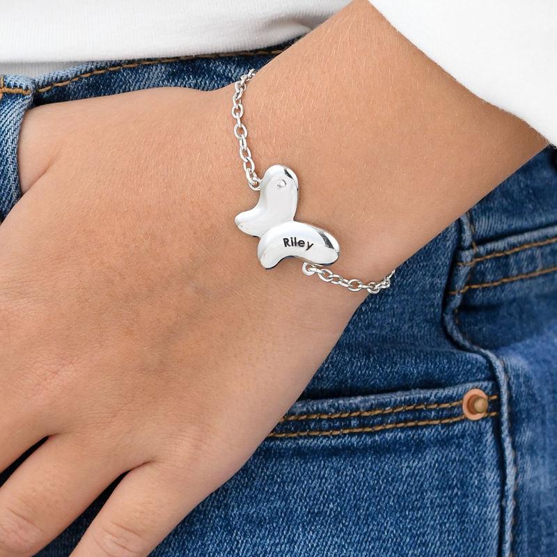 Bracciale Farfalla per Bambina con Zircone Cubico in Argento - 2