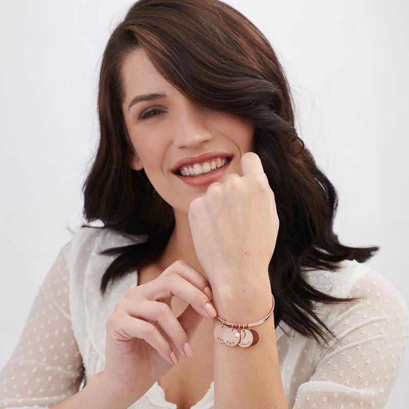 Bracciale Rigido con perla Personalizzato Placcato Oro Rosa - 1