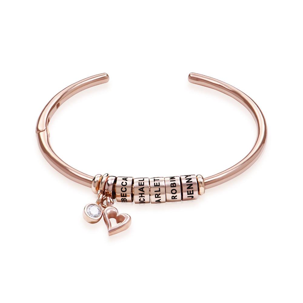 Bracciale Rigido Linda ™ con Perle Personalizzate y Diamante in Placcato Oro Rosa 18K
