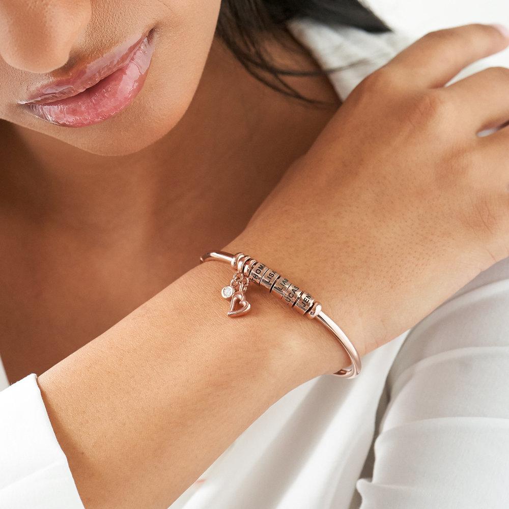Bracciale Rigido Linda ™ con Perle Personalizzate y Diamante in Placcato Oro Rosa 18K - 3