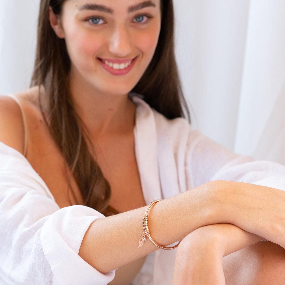 Bracciale Rigido Linda ™ con Perle Personalizzate y Diamante in Placcato Oro Rosa 18K - 4