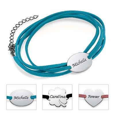 Braccialetto in Camoscio con laccetto avvolto e Amuleto Personalizzato foto del prodotto