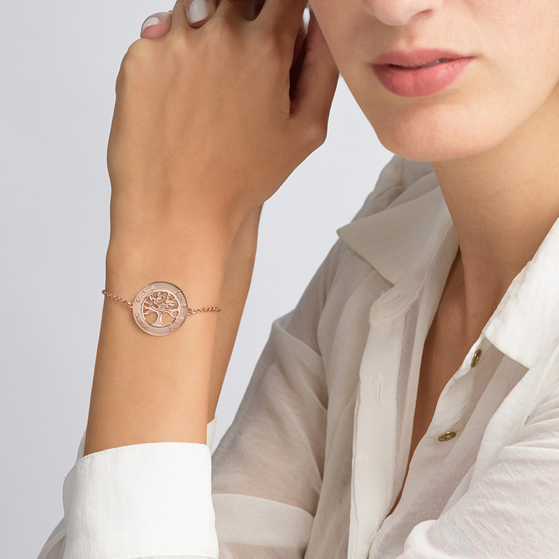 Braccialetto con Albero della Vita con Incisione Paccato in Oro Rosa - 2