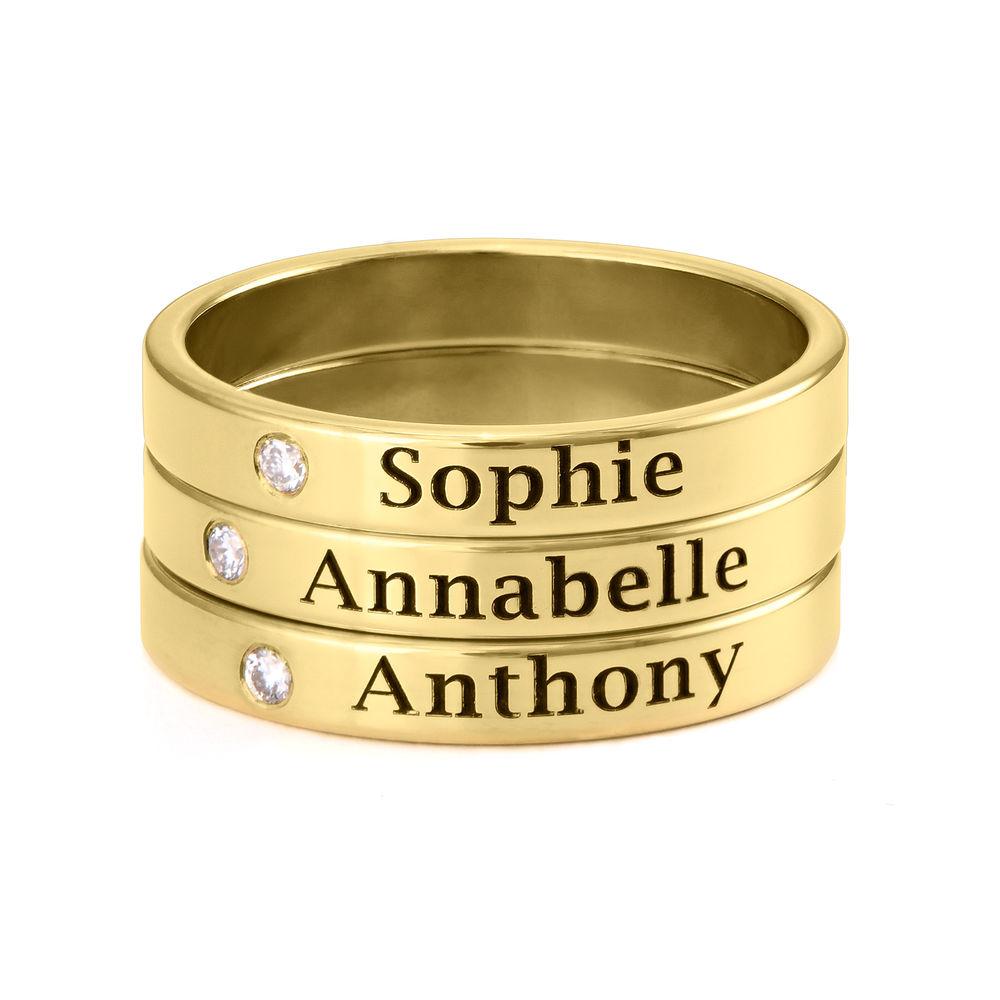 Anello Con Nome e Diamante Abbinabile Placcato in Oro - 2
