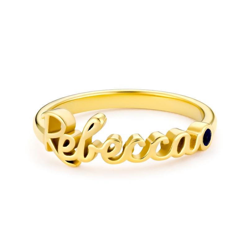 Anello con Nome Personalizzato con Pietra Portafortuna Placcato Oro - 1