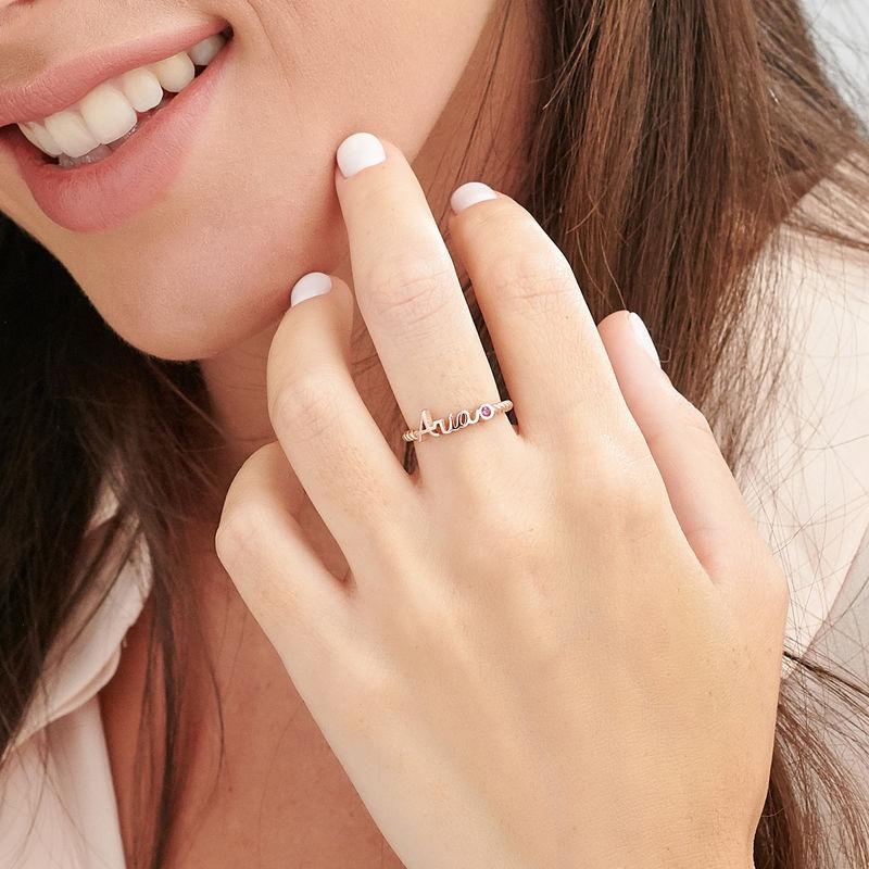 Anello con Nome Personalizzato con Fascia a Corda Placcato Oro Rosa - 3