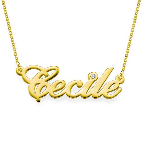 Collana Personalizzata con Nome in Oro 14K e Diamante foto del prodotto