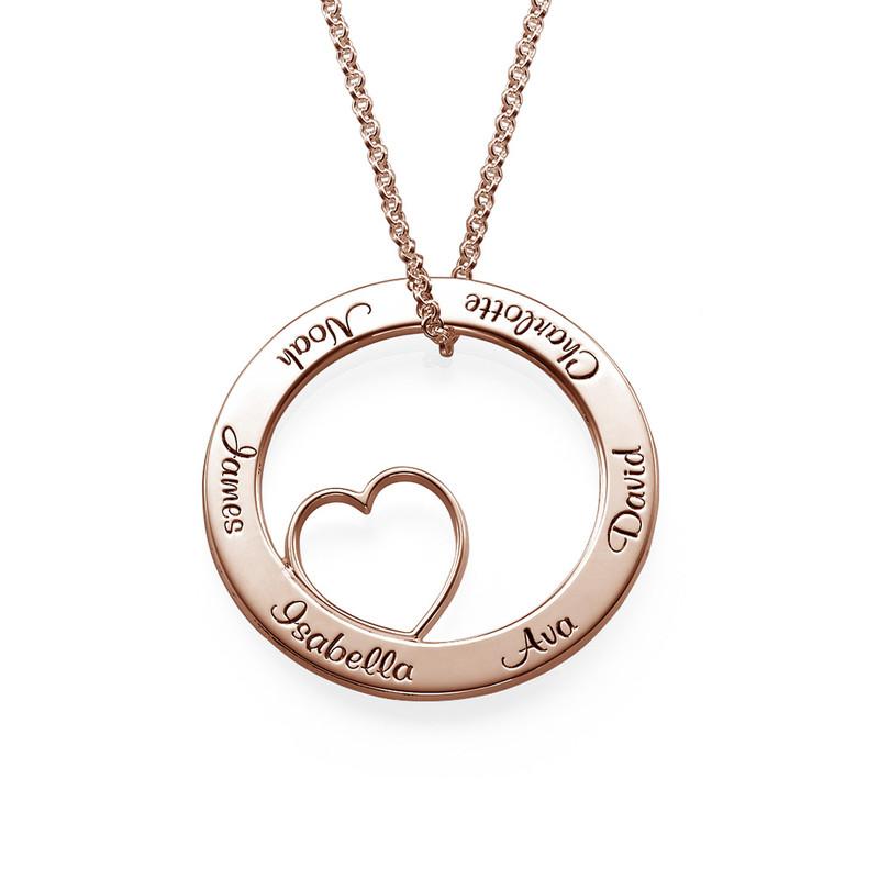 Collana con Pendente a Cerchio Amore per la Famiglia con Placcatura Oro Rosa foto del prodotto