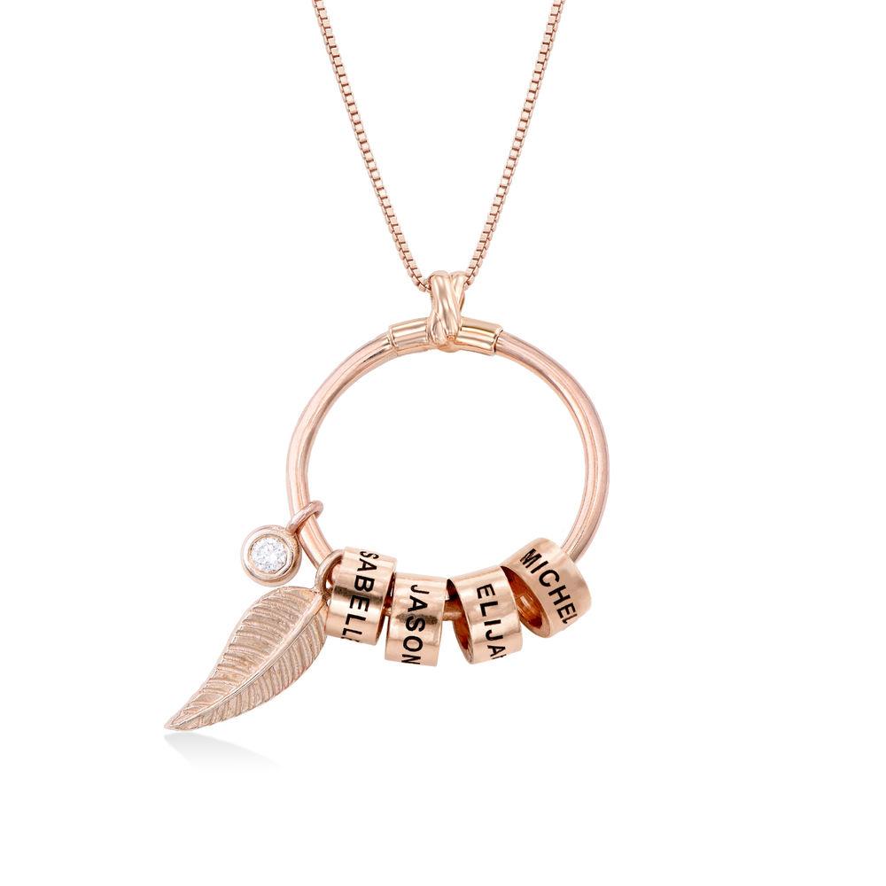 Collana Linda™ con Pendente a Cerchio con Foglia, Perle Personalizzate e Diamante in Placcato Oro Rosa 18K foto del prodotto