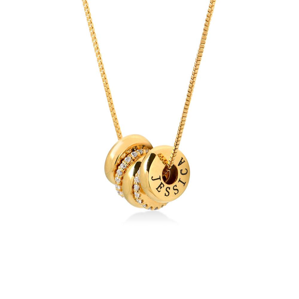 Collana con perline incise personalizzate in Argento 925 placcato oro 18k foto del prodotto
