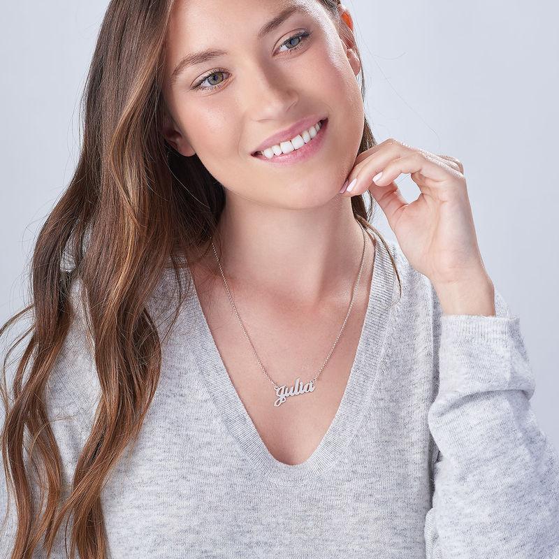 Collar con nombre Fuente Clásica de plata - 4