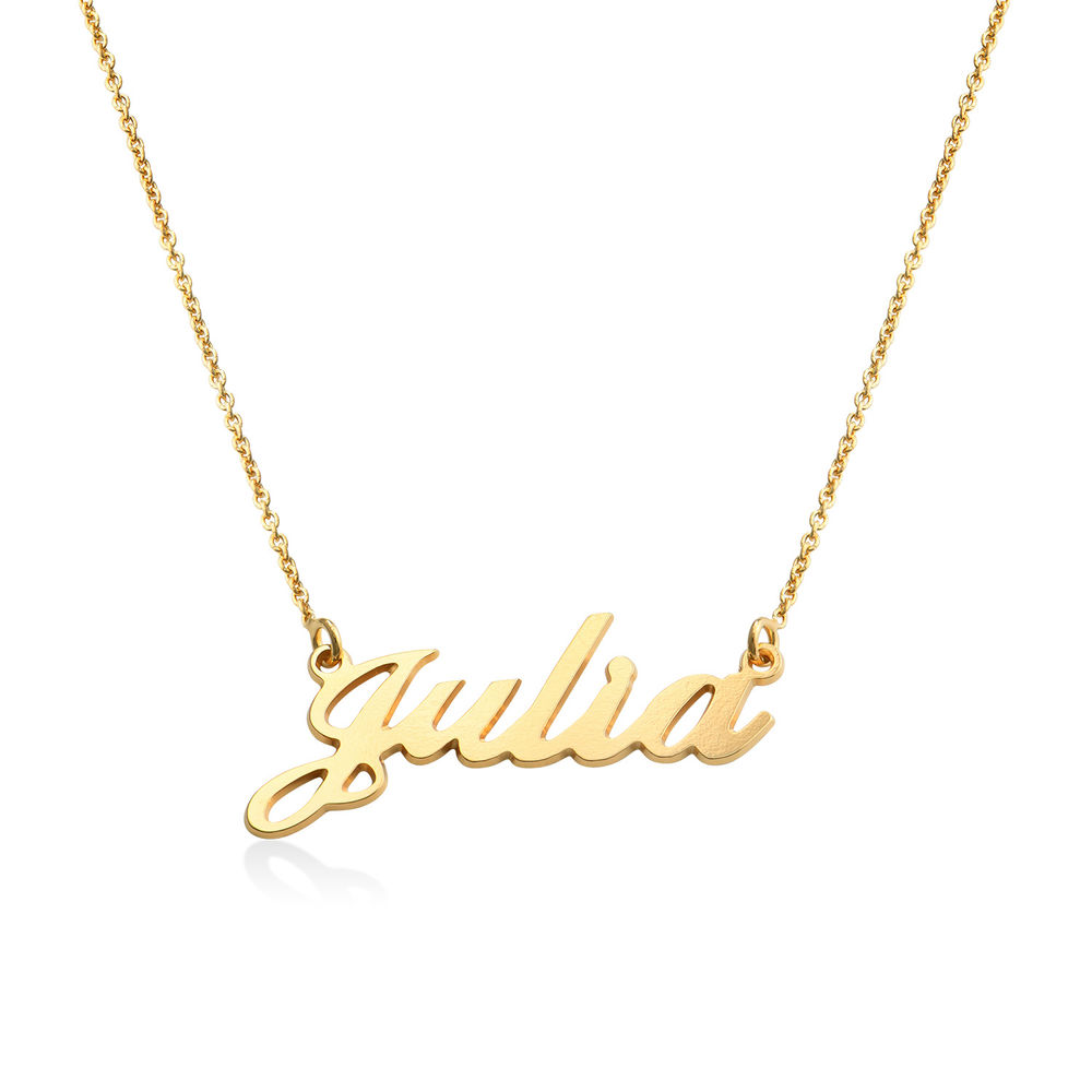 Collar con nombre Fuente Clásica, Plata chapada en oro 18k