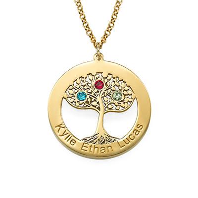 Collar Árbol de la Familia con Piedras de Nacimiento en Chapa de Oro