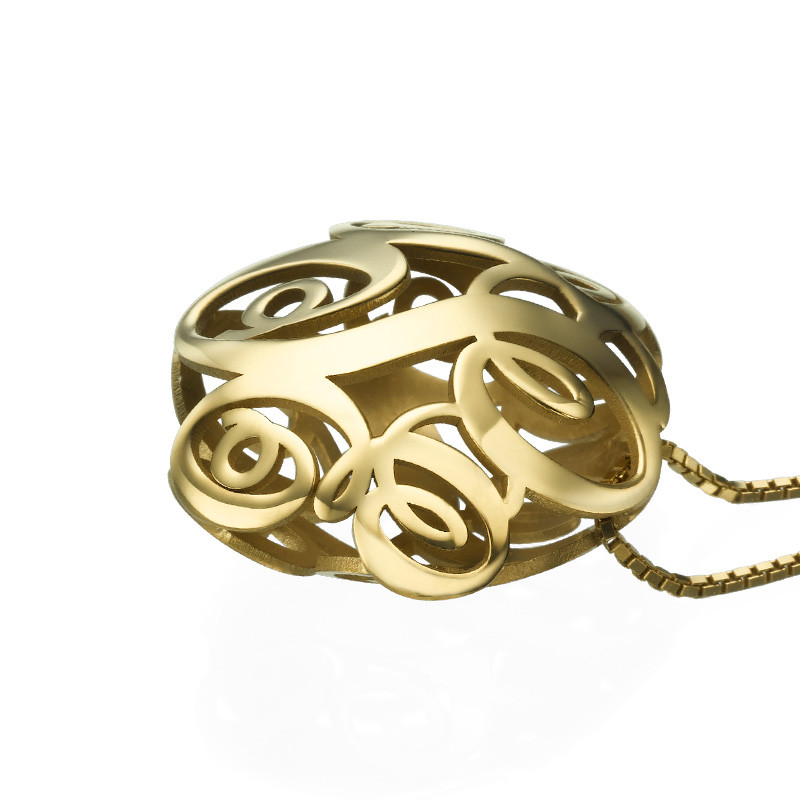 Collar Monograma 3D en Chapa de Oro - 1